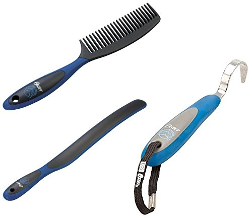 Oster Grooming Bundle - Blue (1-Mane and Tail Comb 1-Sweat Scraper, and 1-Hoof Pic)