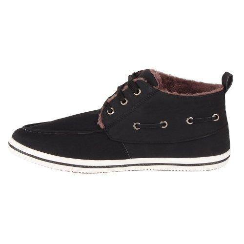 Stiefelparadies Leicht Gefütterte Schuhe Herren Desert Boots Schnürer Wildleder-Optik Stiefeletten Profilsohle Schnürschuhe Flandell Schwarz Carlton