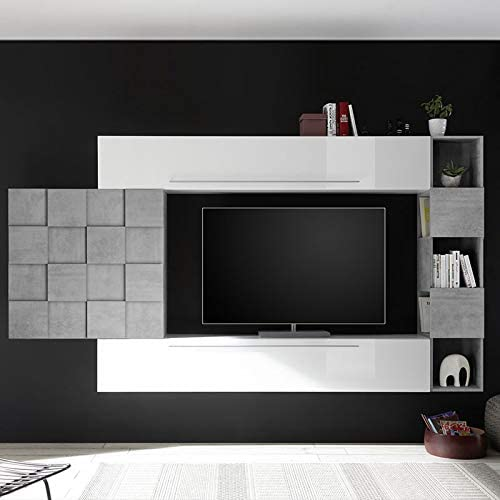 Noveomeuble - Mueble para TV de pared, color blanco y gris ...