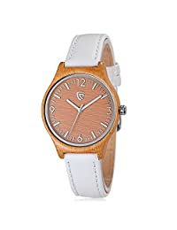 CUCOL Women's Quartz Bamboo Wood Watches White Leather Strap Minimalist Design With Gift Box