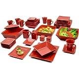 10 Strawberry Street Nova Square Banquet 45-Piece Dinnerware Set (Red) Review