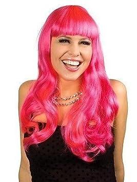 peluca rosa LONGHAIR Charleston De Cabaret pelo liso Carnaval Nochevieja Traje De Vestir largo Punk: Amazon.es: Juguetes y juegos