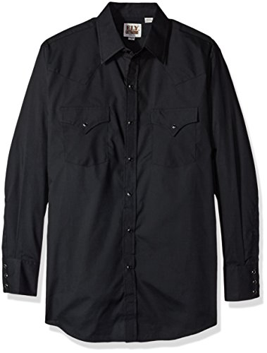 Ely & Walker Men's Long Sleeve Solid Western Shirt, Black, Medium (Walker Black Snap)