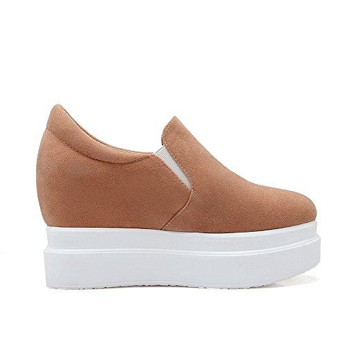 on Donne shoes Weenfashion Delle Rotonda Di Tacchi Pompe Imitato Chiusa Pull Punta Alti Albicocca Solido Camoscio zSOqBgnY
