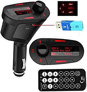Car Kit MP3 Player Wireless FM Transmitter Modulator USB SD MMC LCD Red