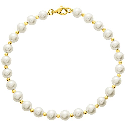 So Chic Bijoux © Bracelet Femme Longueur 18 cm Perles Eau Douce 5 mm Crème Ivoire & Boules Alternées Or Jaune 750/000 (18 carats)