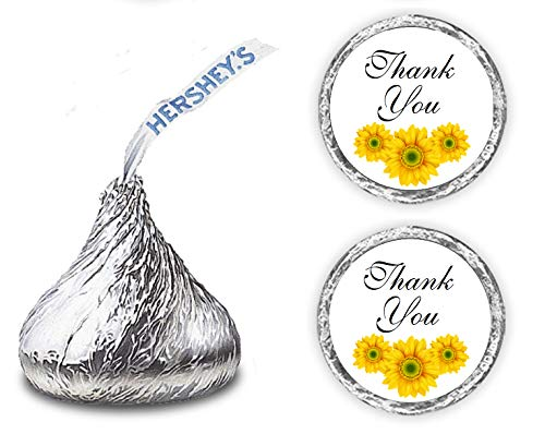 324 Sunflower Thank You Hershey Kiss Wedding Stickers, Floral Chocolate Drops Labels Stickers for Weddings, Bridal Shower Engagement Party, Hershey's Kisses Party Favors