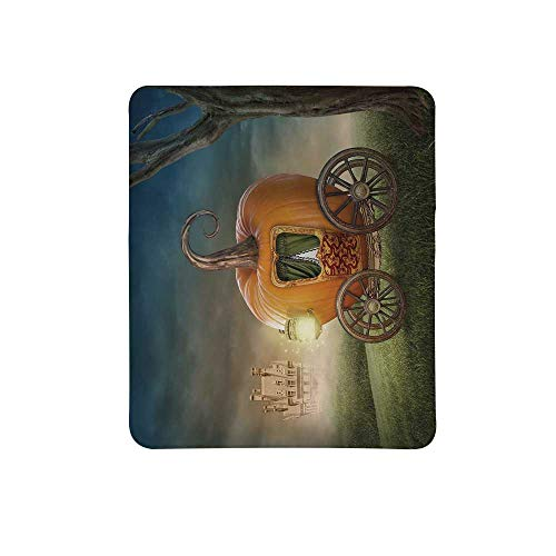 Kids Decor Non Slip Mouse Pad,Abstract Fairytale Image with Orange Pumpkin Light Scenery Princess Ella Image for Home & Office,11