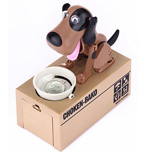 FGF Dog Money Box Robotic Dog Bank Money Saving Box Eating Coin Munching Toy for Kids, Children (Brown-Black)