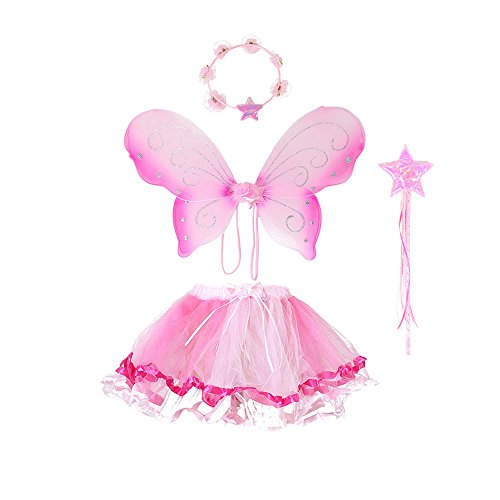 Fairy Princess Dress Up - Fairy Wing Princess Tutu Costume Set For Girls Dress up and Ballet Dance - Pink