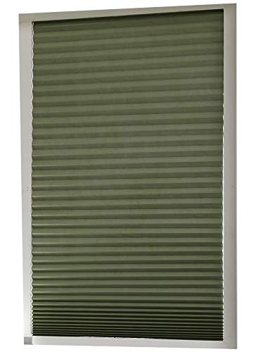 Aluminum Foil Coated Blackout Polyester Shades – Pleated Window Shades RICO Blinds Green, Cordless Easy Durable, 36inch x 94inch, 2Pack (Green, 94 inch)