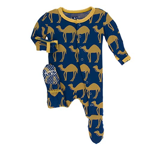 Kickee Pants Little Boys Print Footie with Snaps - Navy Camel, 9-12 Months