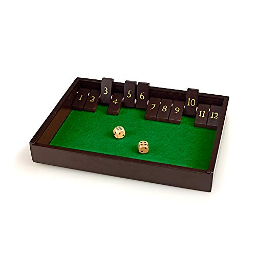 STERLING Games Wooden Shut The Box Game with 12 Numbers with Lid Cover ()