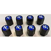 8 Black... (Nitrogen) VALVE CAPS - N2- Inlayed...TPMS Safe..w/ Window Decal