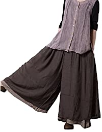 Mordenmiss Women's Casual Loose Fit Layers Wide Leg Pants
