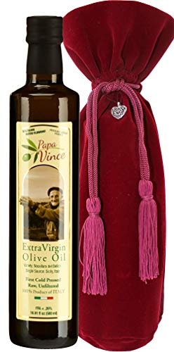Papa Vince Olive Oil Gift - Extra Virgin First Cold Pressed from our family in Sicily, Italy, Unblended, Unfiltered, Unrefined, Robust, Rich in Antioxidant | Burlap bag | 16.9 fl oz by Papa Vince (Image #4)
