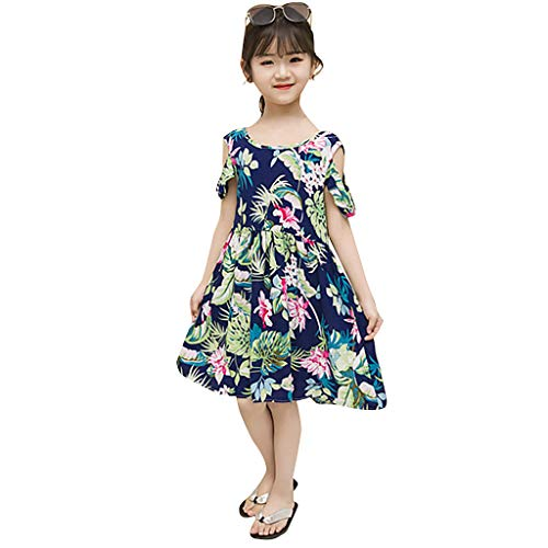 (TIFENNY Striped Belt Print Girls Dress Baby Girls Pink Sleeveless Party Princess Pageant Dresses)