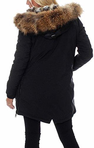 in lusso donna pelliccia malito pelliccia nbsp;da con Nero Parka di vera D2222 inverno w1nE6IqE
