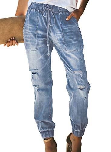 (GOSOPIN Women Drawstring Elastic Waistband Loose Pants Jogger Denim Jeans Large Sky Blue)