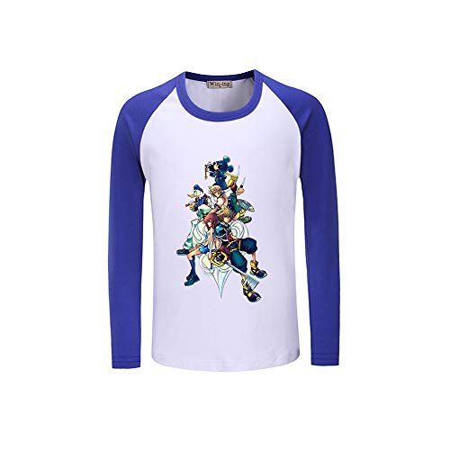 Lunga Personalizzate Stampate Moda Splice Maglietta Kingdom Hearts Manica Blue13 Colore gX686pE