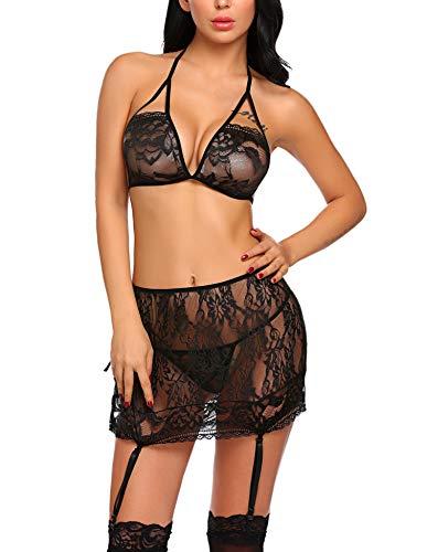 (Avidlove Women's Lingerie Set Lace Teddy Babydoll Bodysuit Garter Skirt Set Black S)