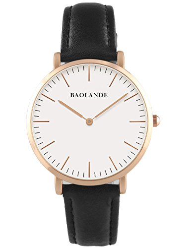 Alienwork Classic St.Mawes Quarz Armbanduhr elegant Quarzuhr Uhr modisch Zeitloses Design klassisch rose gold schwarz Leder U04816M-03