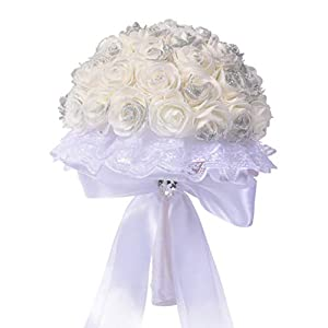 SANGNI Artificial Flowers,Wedding Bouquet Crystal Rose Pearl Bridesmaid,Wedding Bouquet Bride Artificial Silk Flower,Home Decorative Flower 4