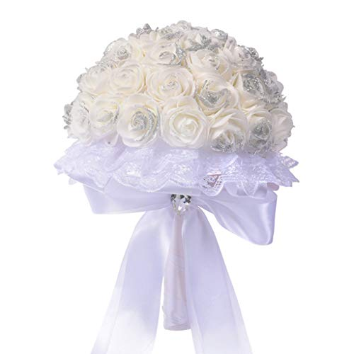 Emptystar Wedding Bouquet, White Bridesmaid Bouquet Bridal Bouquet with Crystals Soft Ribbons, Artificial Rose Flowers for Wedding, Party and Church White (B)
