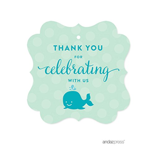 Andaz Press Boy Whale Nautical Baby Shower Collection, Fancy Frame Gift Tag,  Thank You For Celebrating With Us!, 24 Pack