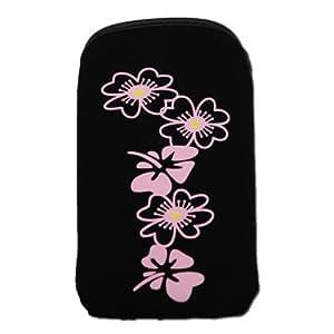 Handycop® rosa Flower Original XL Slim Funda aterciopelada, Interior forrado, para Sony Ericsson Xperia X10