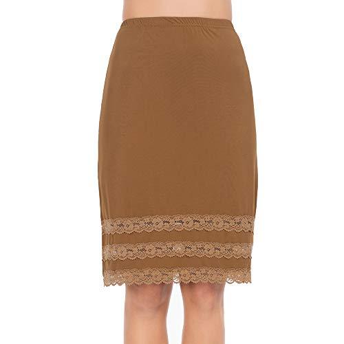Lace Slip Half Slip - Half Slips for Women Underskirt Dress Extender Lace Trim Knee Length Midi Skirt Dark Brown XX-Large