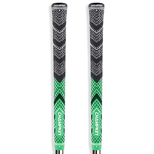 Champkey Victor Golf Grips Set of 2(Free 2 Tapes & Clean Cloth Included) - All Weather Cord Rubber Golf Club Grips Ideal for Clubs Wedges Drivers Irons Hybrids (Apple Green, Standard)