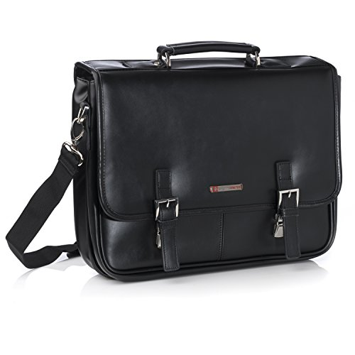Flap Over Structured Briefcase - Alpine Swiss Leather Briefcase Dressy Double Buckle Flap-Over