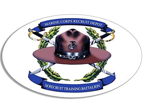 American Vinyl Oval 3rd Recruit Training Battalion Logo Sticker (USMC Marine Corps Drill Instructor Hat)