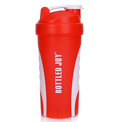 BOTTLED JOY Protein Shaker Bottle, Grip Leak Proof SportMixer Fitness Sports Nutrition Supplements Mix Bottle, Non-slip part 27oz 800ml (Red)