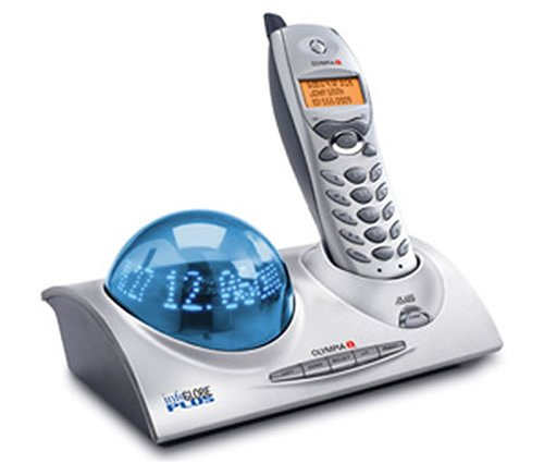 Olympia InfoGlobe Plus OL3020 5.8 GHz Cordless Phone with Caller ID, Holiday Greeting, and Personal Message Display (Silver/Blue) ()
