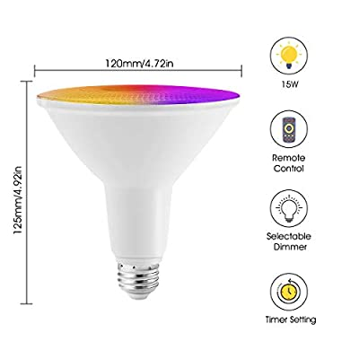 JandCase PAR38 LED Flood Light Bulb, Color Changing Light Bulbs, 15W Dimmable Bulbs, 120W Equivalent, 1300LM, Christmas Decor, Indoor/Outdoor Lights for Party, Garden, Garage, Stage, E26 Base, 1 Pack