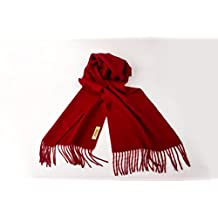 ARION 100% Authentic Cashmere Super Soft and Warm Wrap Shawl Scarf with Gift Box - Red