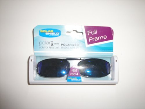 Solar Shield full frame size 48 Rec 4 Bluish Lens Polarized Clip on Sunglasses by - Usa Sunglass