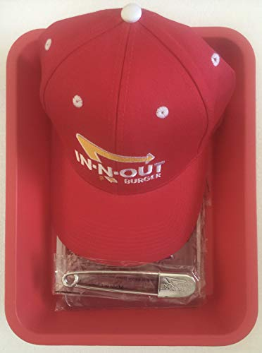 In N Out Burger Employee Uniform in Tray=Apron, Pin and Ball Cap with Free Secret Menu (Best Burger In N Out)