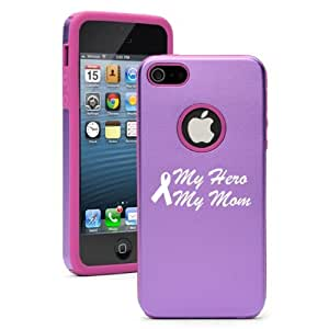 Apple iPhone 5 5S Purple 5D5325 Aluminum & Silicone Case Cover My Hero My Mom Cancer Awareness Ribbon