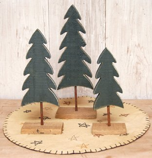green wood pine tree distressed country primitive christmas holiday dcor