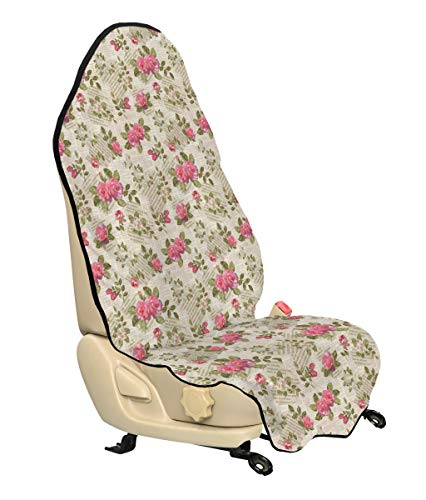 (Lunarable Old Newspaper Car Seat Cover, Floral Composition Torn Paper Texts Blossoming Pink Rose Bouquets, Car Truck Seat Cover Protector Nonslip Backing Universal Fit, Beige Pink)