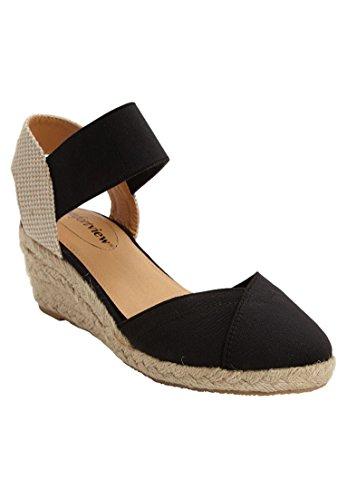 Extra Wide Width Shoes (Comfortview Women's Wide Abra Espadrille Sandal Black,9 Ww)