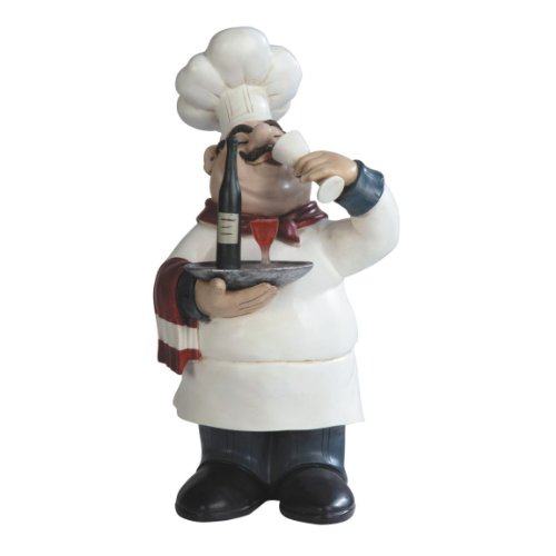 14.25 Inch Chef Serving and Drinking Wine Figurine (Chef And Wine Decor)