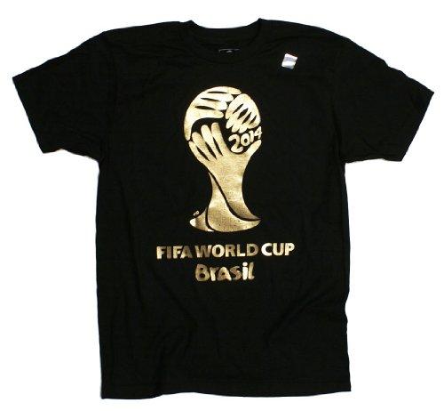 Fifa World Cup Brazil Soccer 2014 Gold Foil T-Shirt Black Large