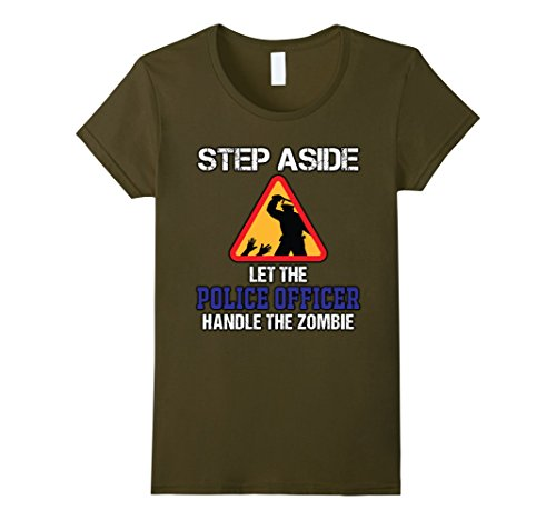 Zombie Police Costume Womens (Womens Police Officer VS Zombies T-Shirt for Halloween Costume Medium Olive)