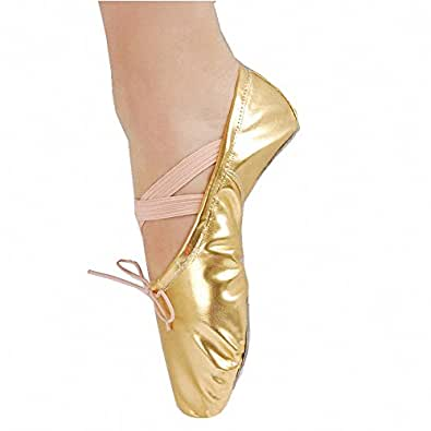 Children Girls Glitter Ballet Dance Slipper Exercise Paw Shoes Soft Golden 25#