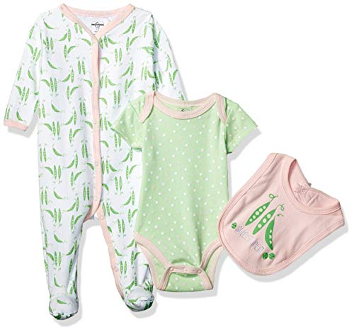 Quiltex Girls' Toddler Sweet Pea Print Pant Set with Bodysuit and Bib 3 Pc, 6-9 Months