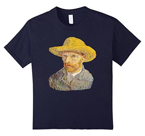 Kids Vincent Van Gogh Shirt Famous Self Portrait In A Straw Hat 12 Navy